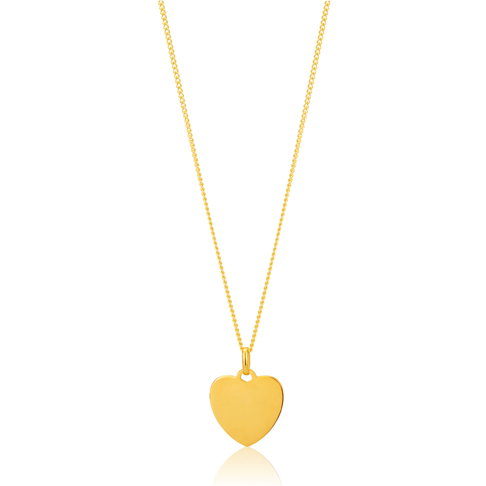 9ct Yellow Gold Silver Filled Plain Heart Pendant in 12mm