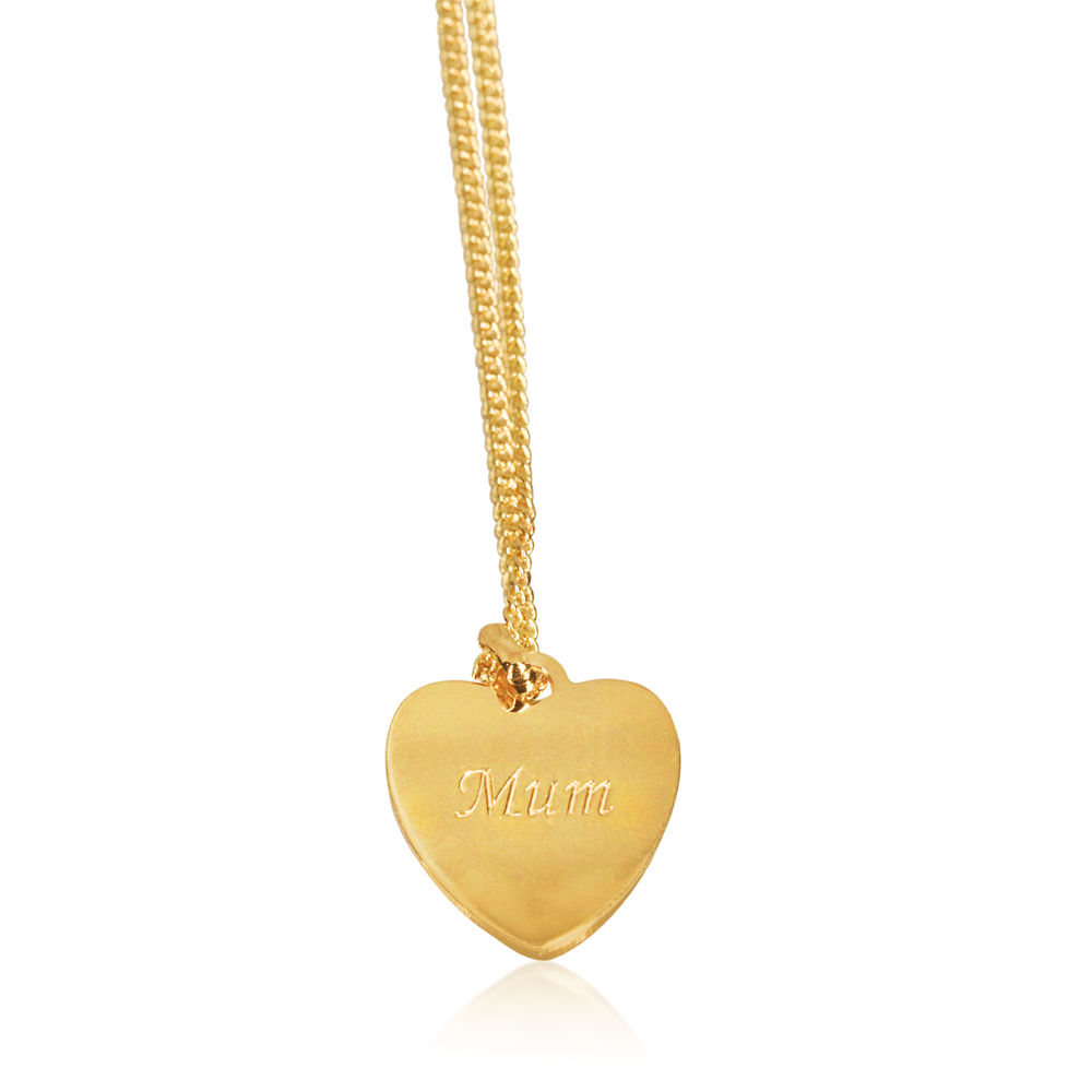 "9ct Yellow Gold Silver Filled Heart Shape ""mum"" Pendant in 12mm"