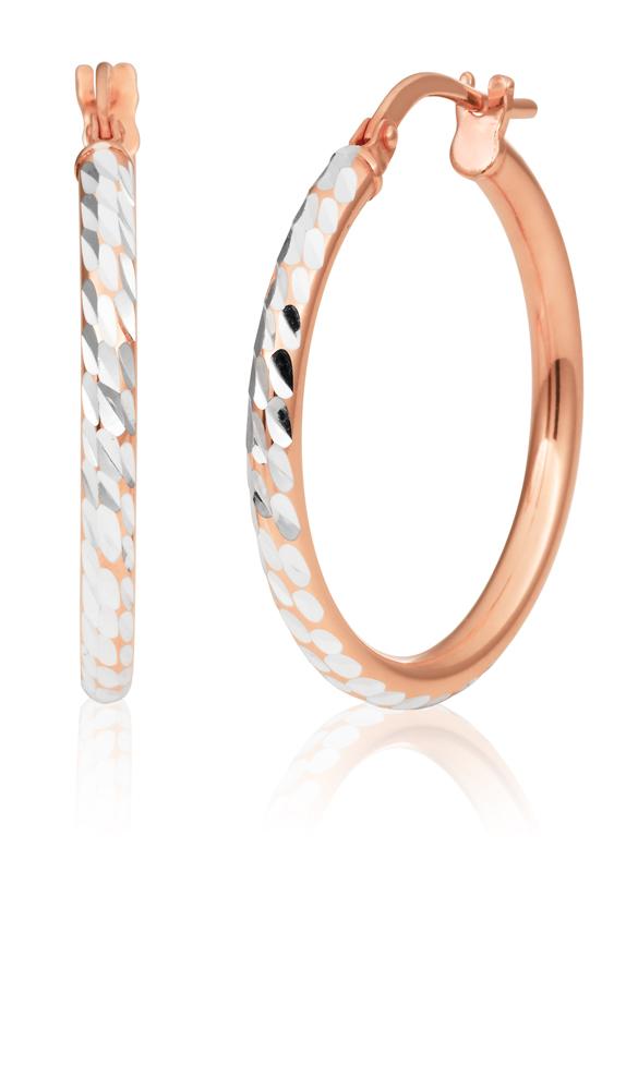 9ct Rose Gold Silver Filled 2x20mm Fancy Hoop Earrings