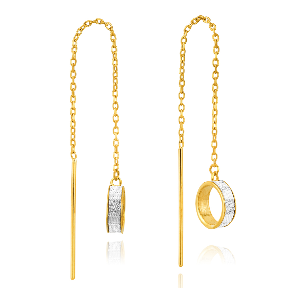 9ct Yellow Gold Stardust Open Circle Thread Silverfilled Earrings