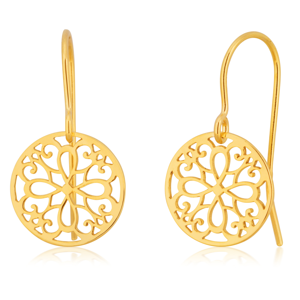 9ct Yellow Gold Filligree Patterneed Silverfilled Drop Earrings