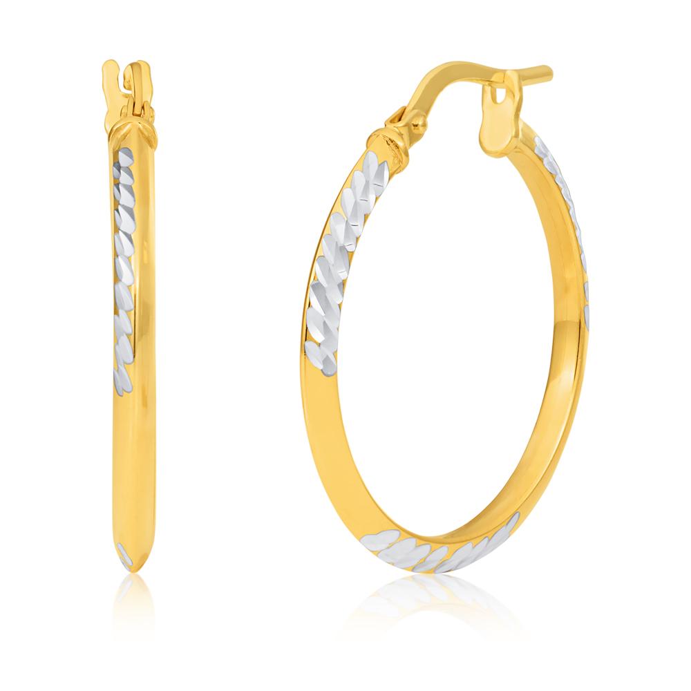 Silverfilled 9ct Yellow Gold 20mm Diamond Cut Hoop Earrings