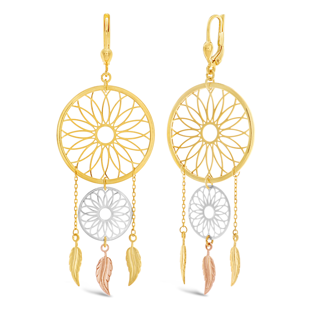 9ct Gold Filled Two Tone Double Dream Catcher Earrings