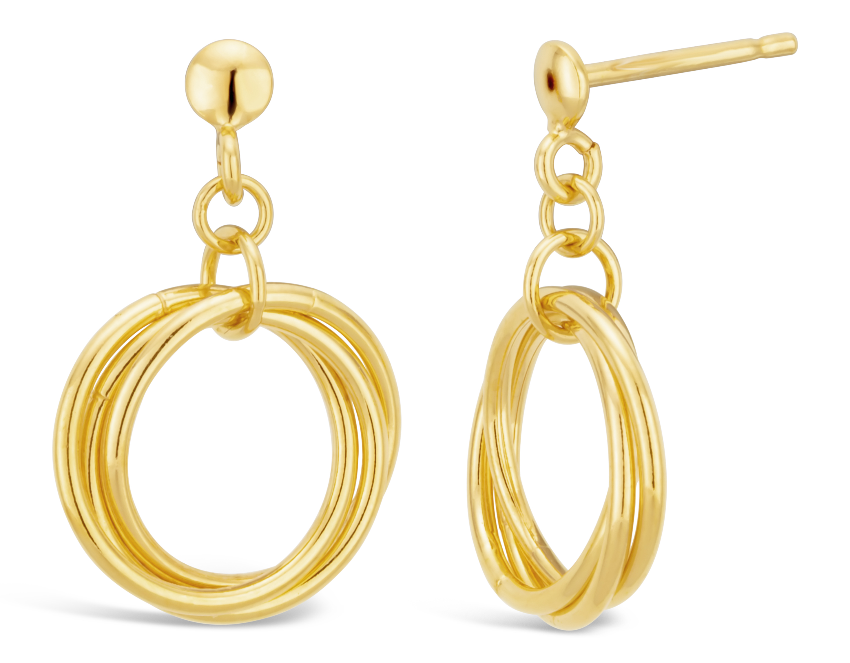 9ct Gold Filled Twist Circle Stud Earrings