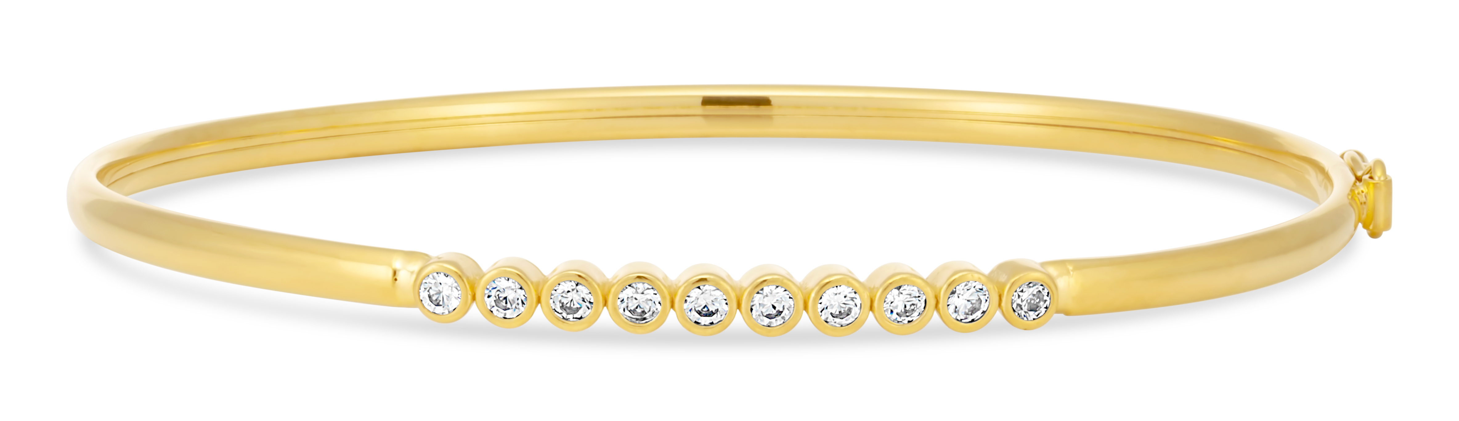 9ct Gold Filled Cubic Zirconia Bezel Set Bangle