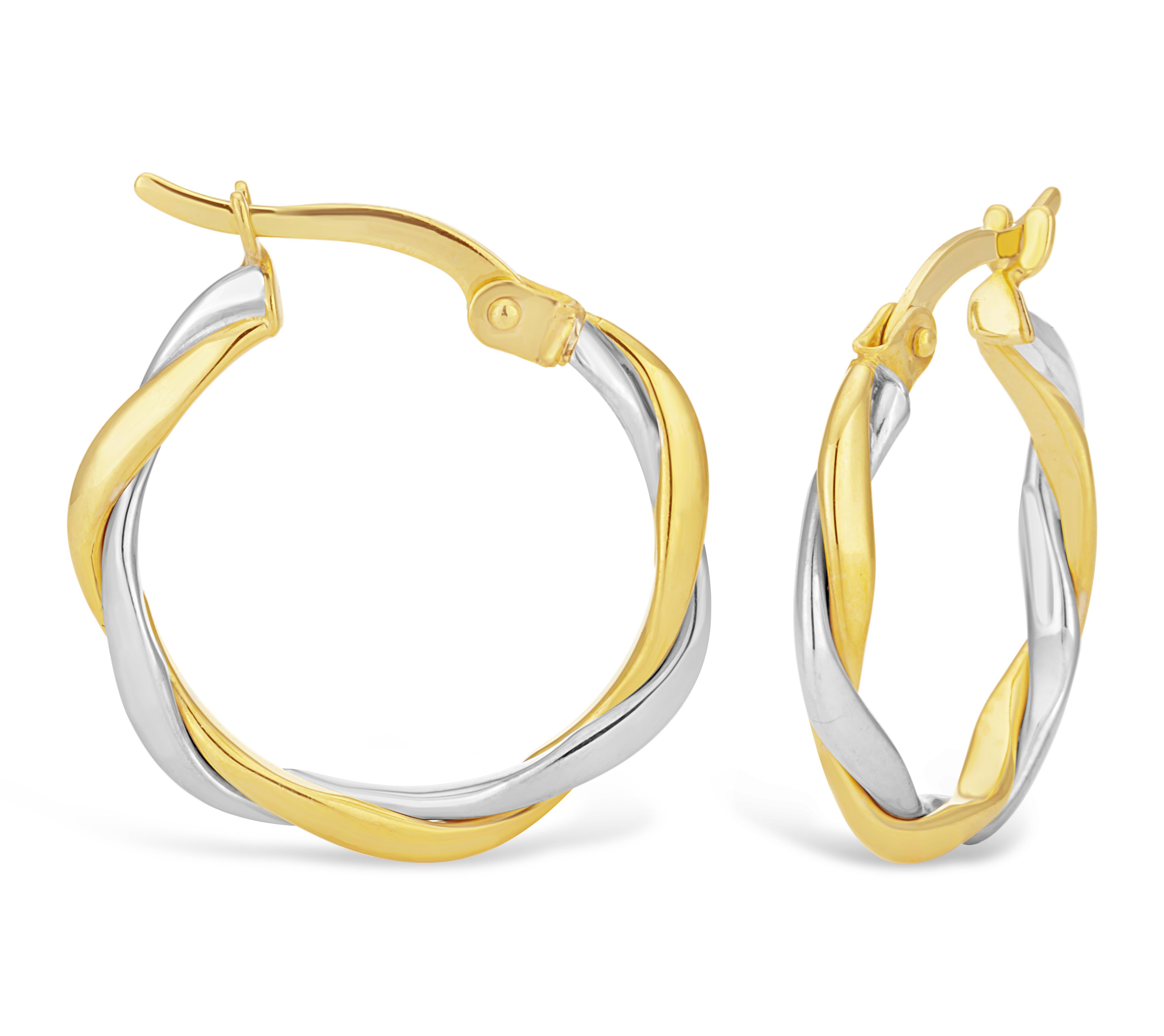 9ct Two-Tone Gold Filled Twist Hoop Earrings