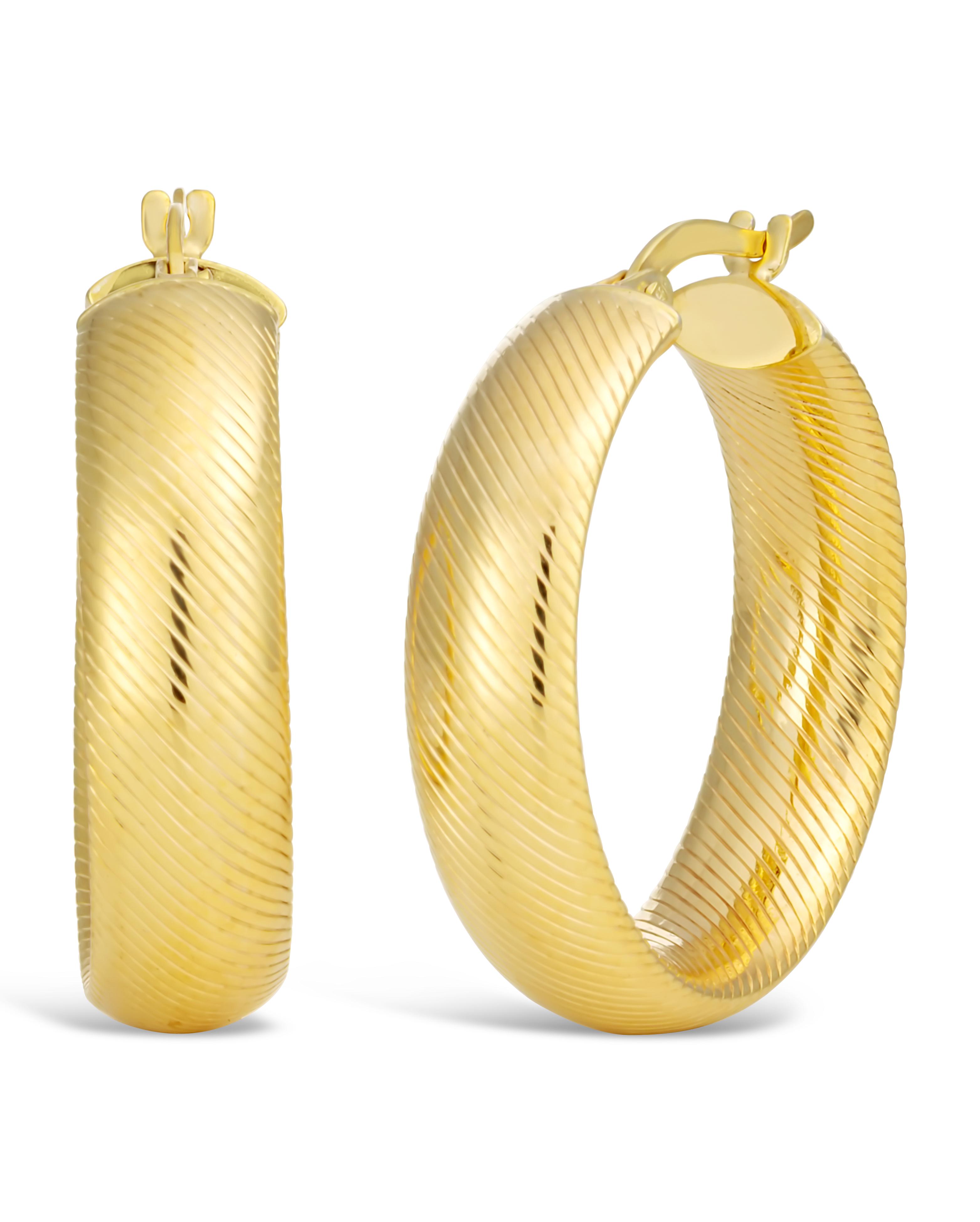 9ct Yellow Gold Filled Diamond Cut 20mm Hoop Earrings