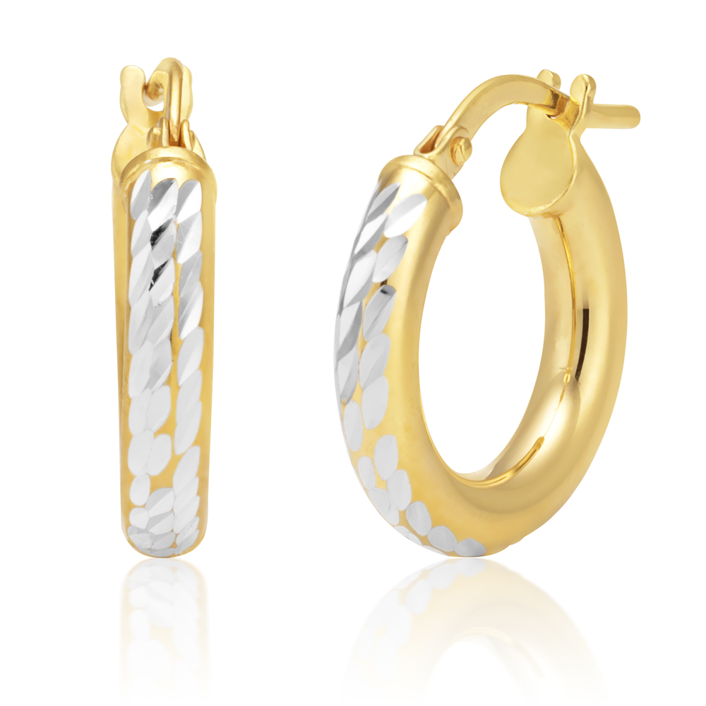 9ct Two-Tone Gold Filled 10mm Diamond Cut Hoop Earrings