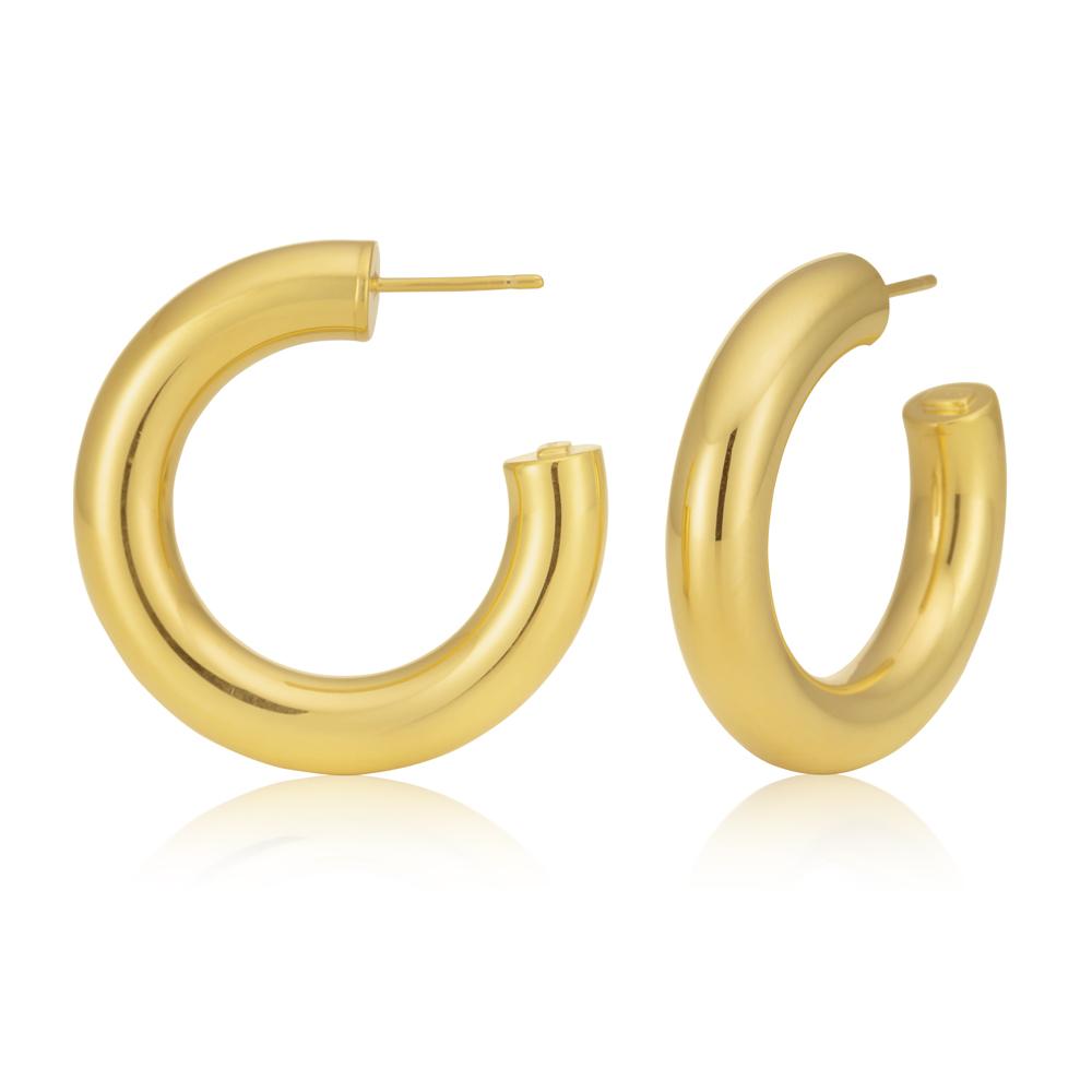9ct Yellow Gold Filled 20mm Plain Half Hoop Earrings