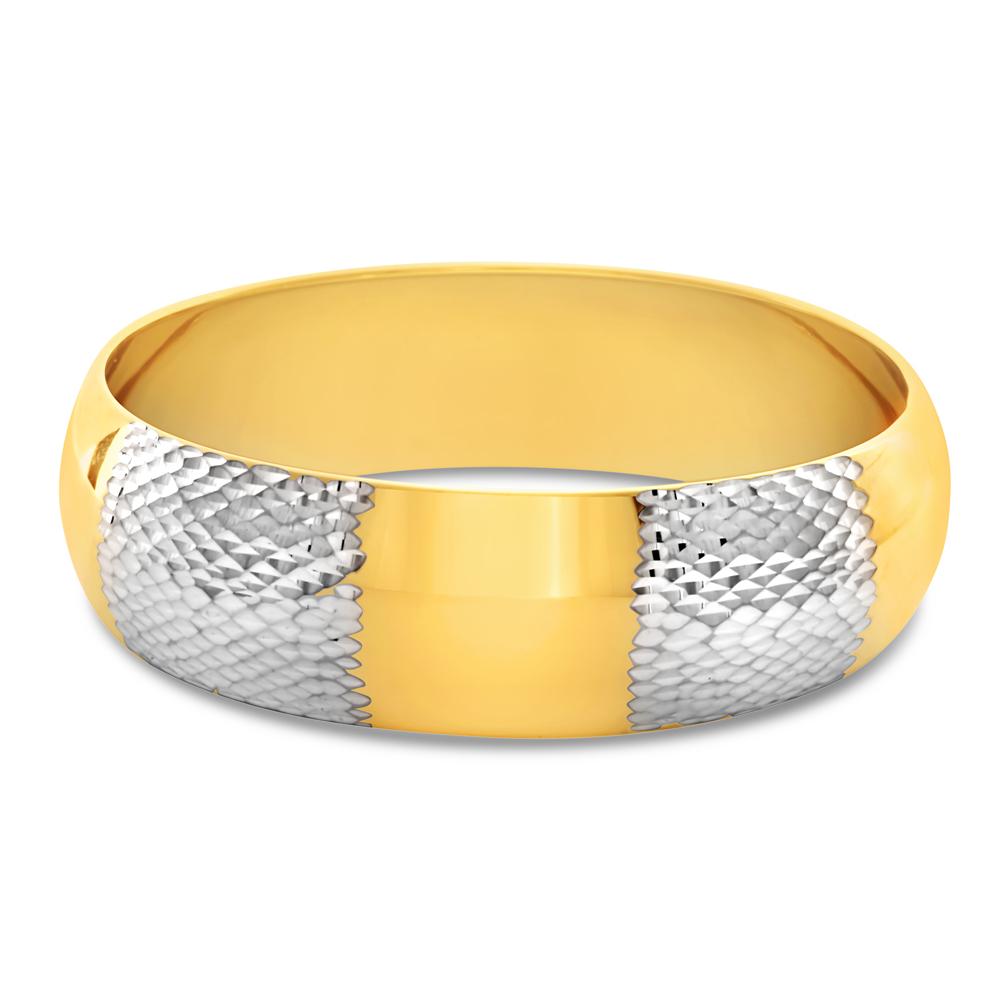 9ct Gold Filled Diamond Cut Wide Bangle