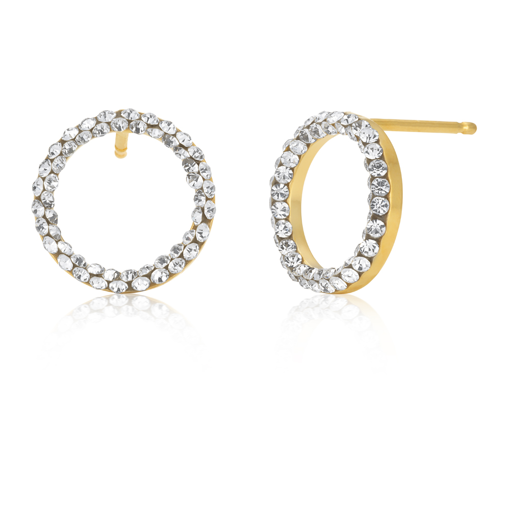 9ct Yellow Gold Filled Open Circle Crystal Stud Earrings
