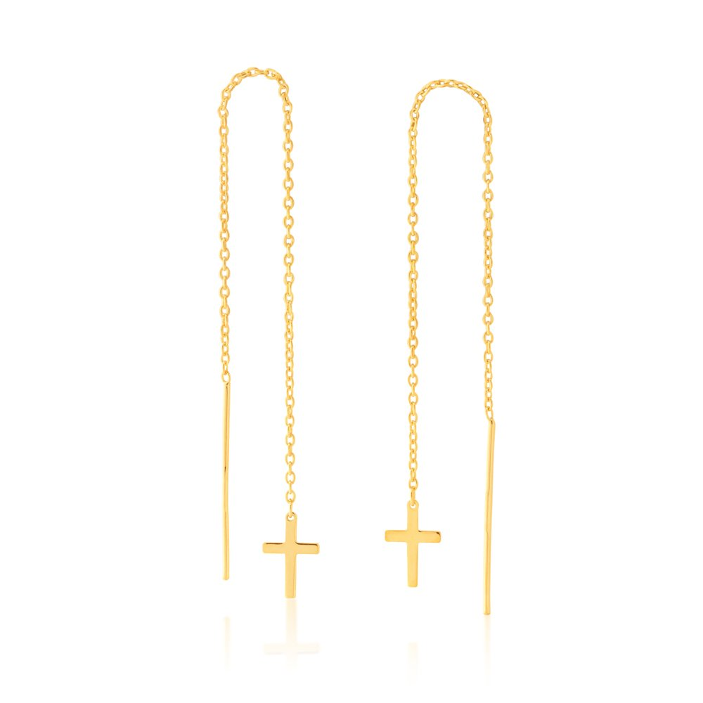 9ct Yellow Gold-Filled Cross Threader Earrings