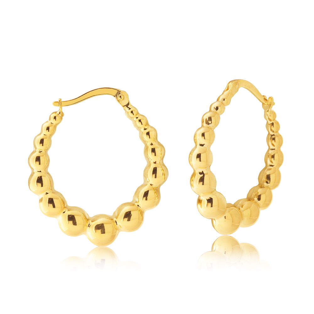 9ct Yellow Gold Silver Filled Rope Ball Earrings