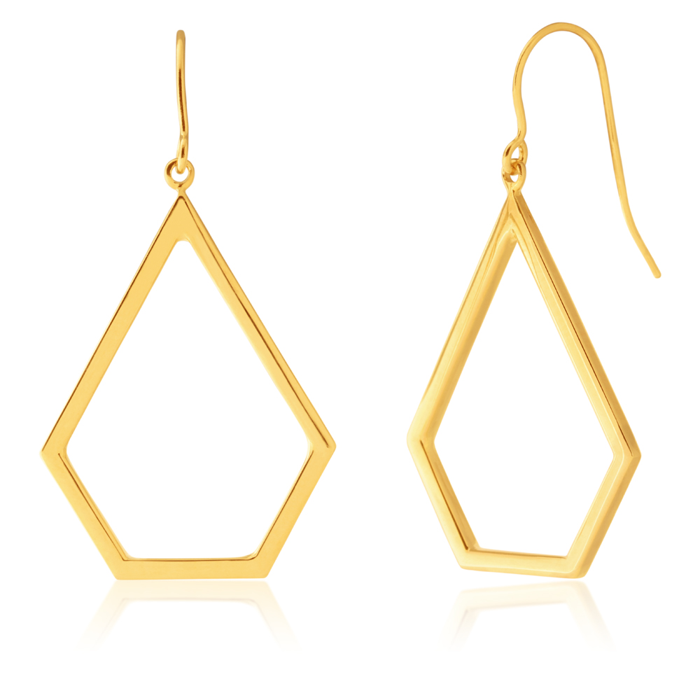 9ct Yellow Gold Silver Filled Pentagon Drop Earrings