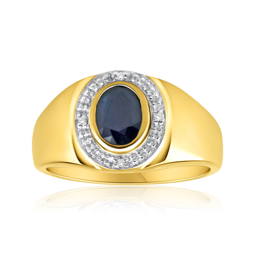 9ct Yellow Gold Natural Black Sapphire + Diamond Gents Ring