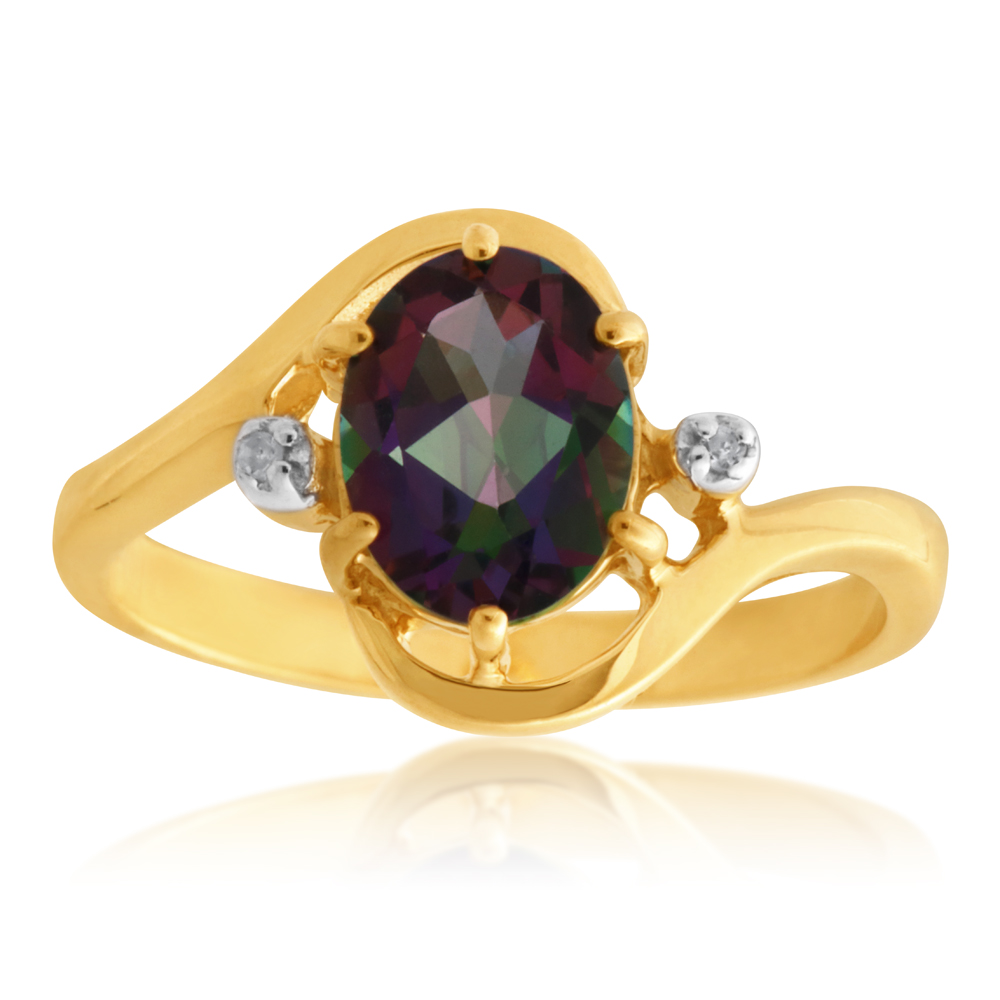 9ct Yellow Gold Oval Mystic Topaz and Diamond Swirl Ring
