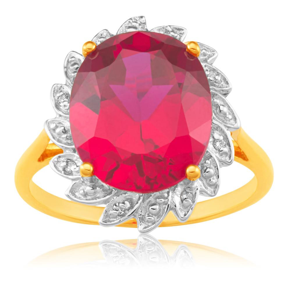 9ct Yellow Gold Created Ruby + Diamond Ring