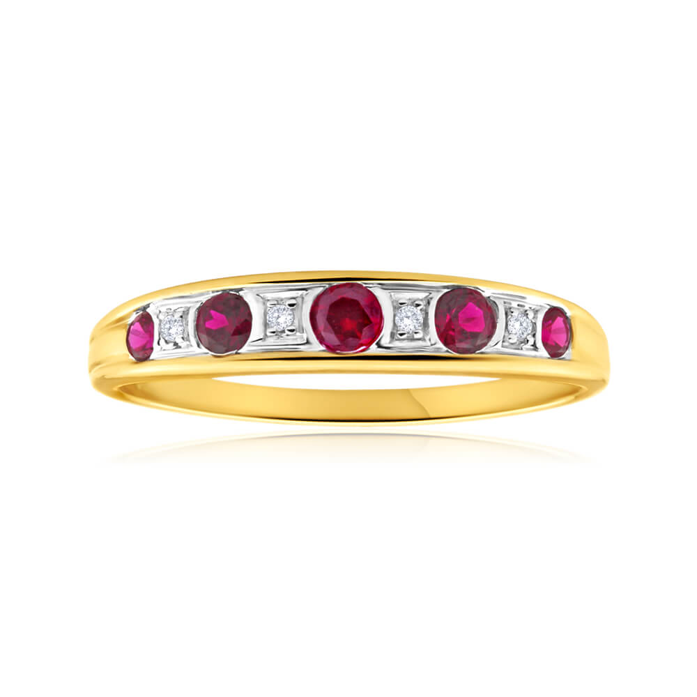 9ct Yellow Gold Created Ruby + Diamond Graduated Ring