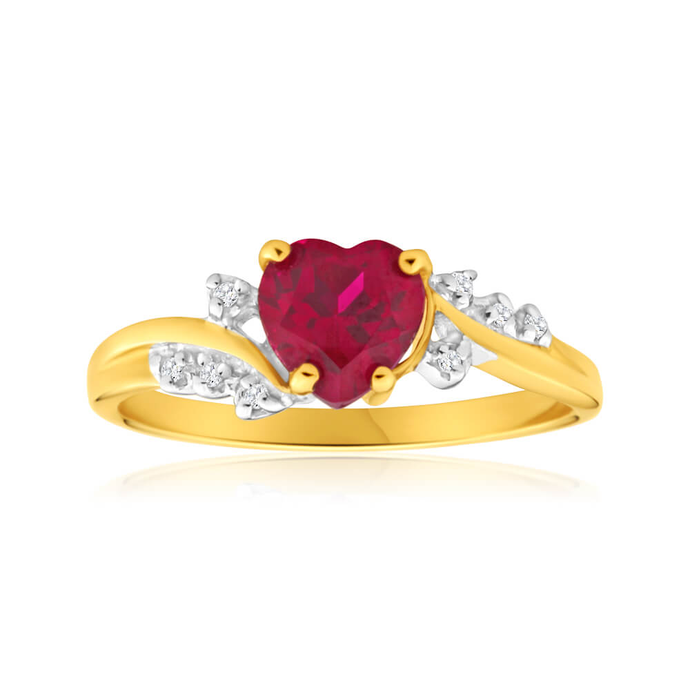 9ct Yellow Gold Heart Created Ruby + Diamond Ring