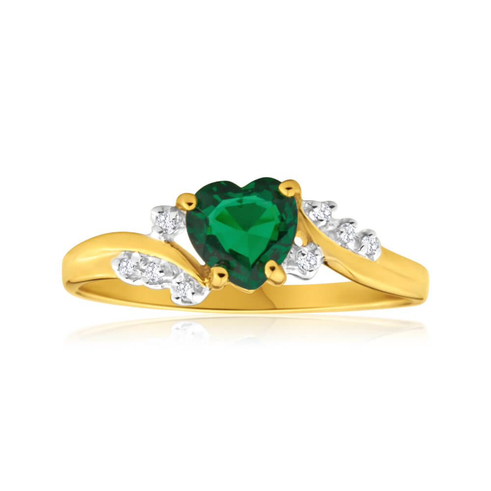 9ct Yellow Gold Alluring Heart Created Emerald + Diamond Ring