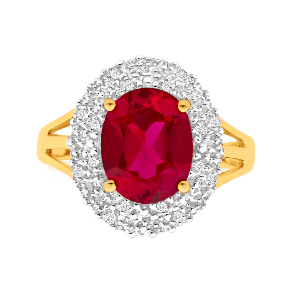 9ct Yellow Gold 8x10mm Created Ruby + Diamond Halo Ring