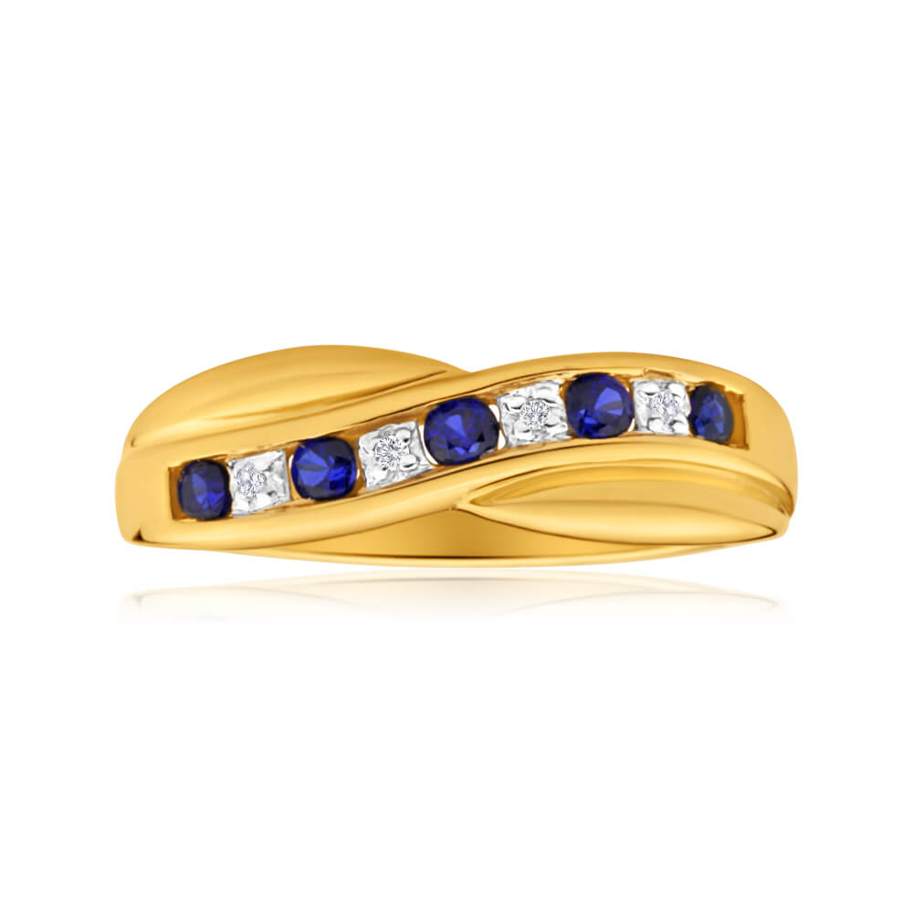 9ct Dazzling Yellow Gold Created Sapphire + Diamond Ring