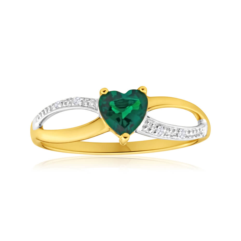 9ct Yellow Gold Heart Created Emerald + Diamond Ring