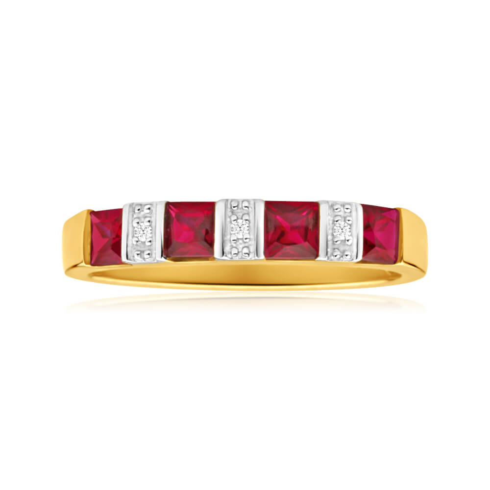 9ct Yellow Gold 4 Created Ruby + Diamond Ring