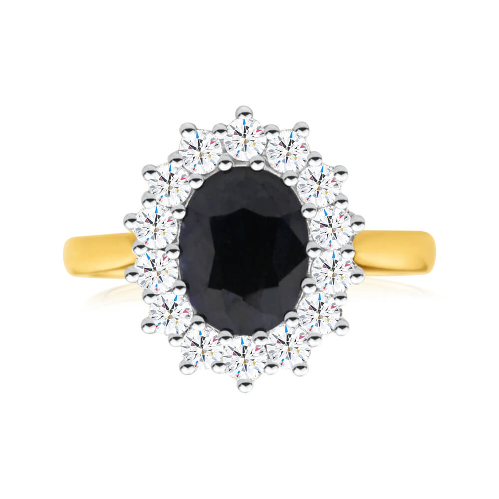 """18ct Ring with 2.70 Carat Natural Sapphire and 0.70ct Diamonds """"Princess Catherine"""""""