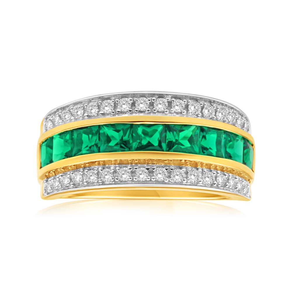 9ct Yellow Gold Diamond + Emerald Ring