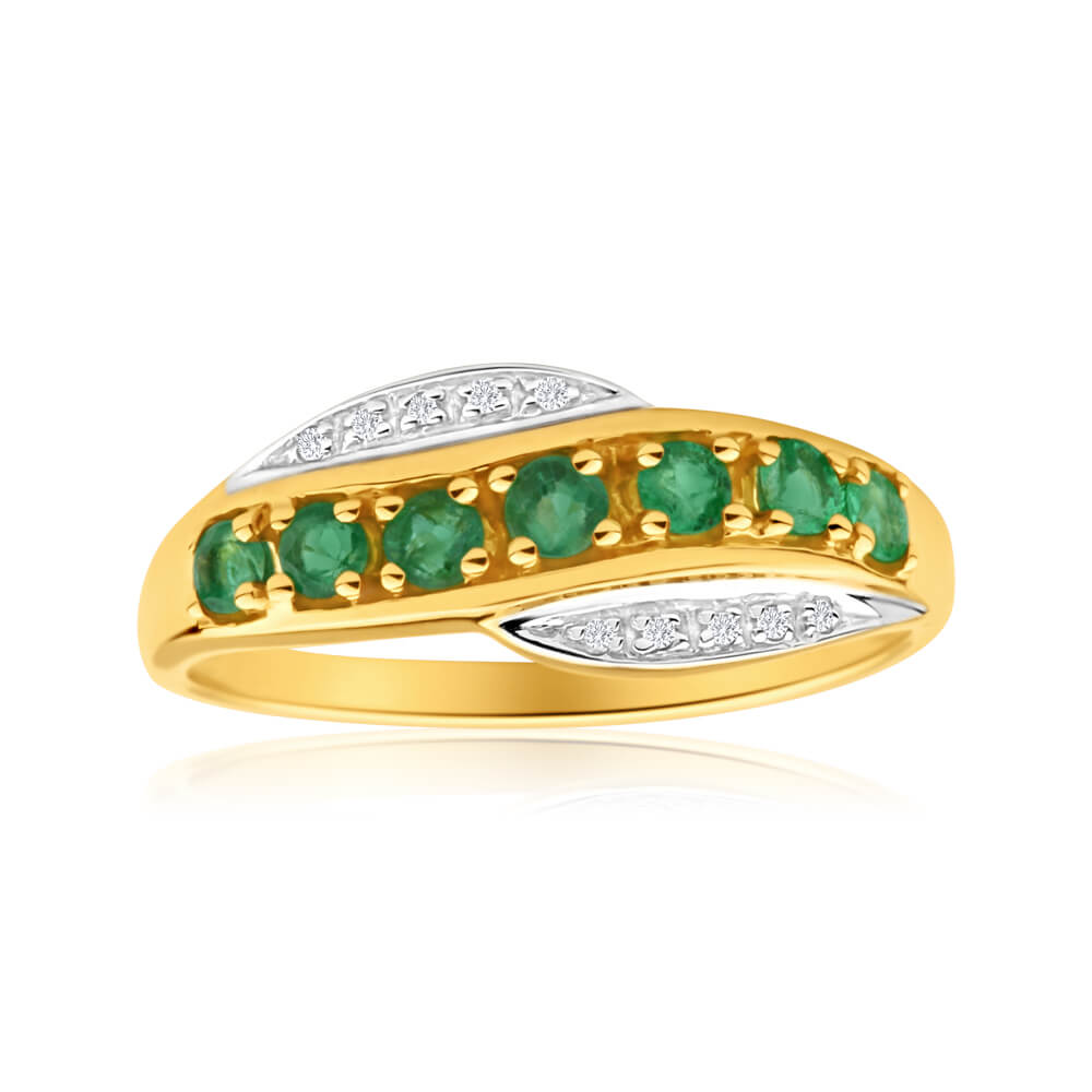 9ct Elegant Yellow Gold Diamond + Emerald Ring
