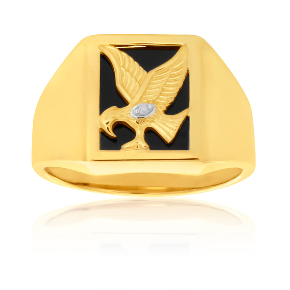 9ct Yellow Gold Eagle Gents Ring with Onyx and Diamond