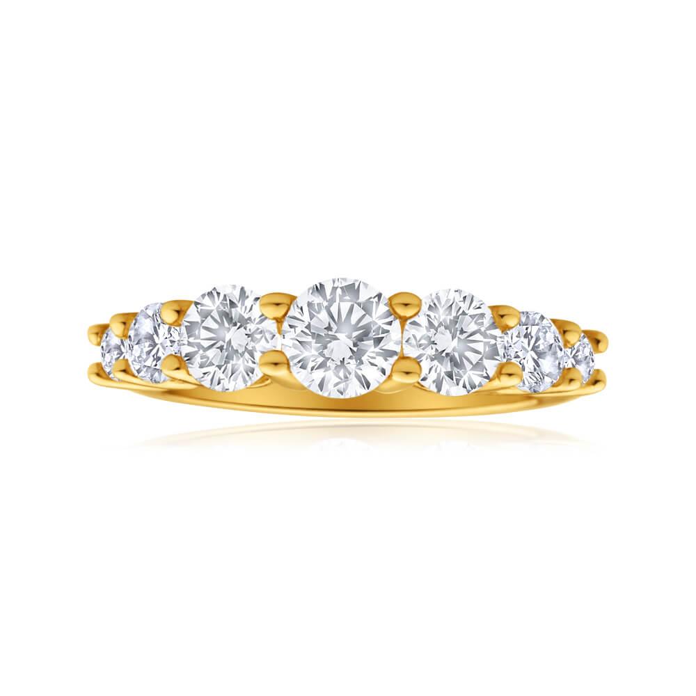 9ct Yellow Gold Cubic Zirconia Graduated 7 Stone Ring