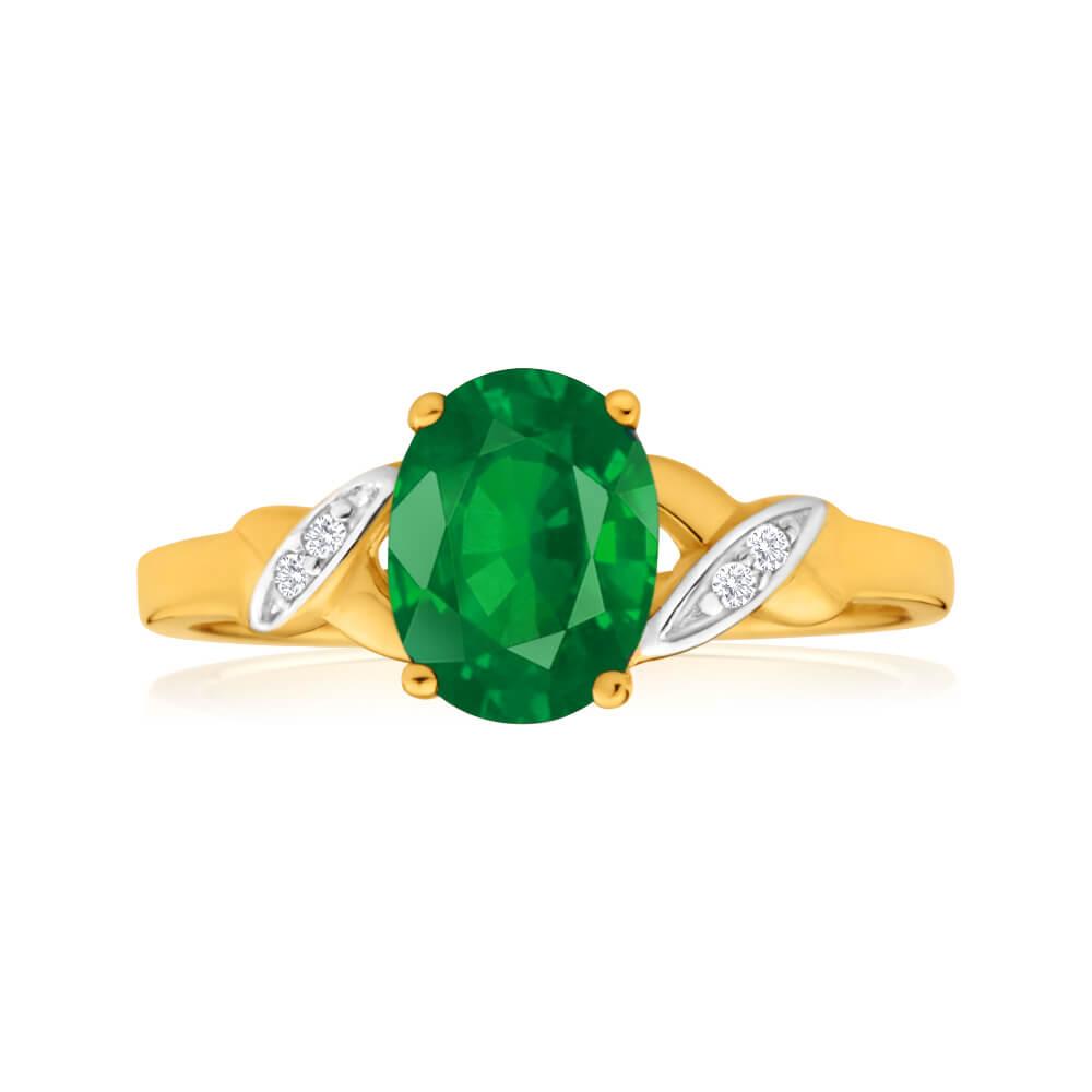 9ct Yellow Gold Oval Created Emerald + Diamond Ring