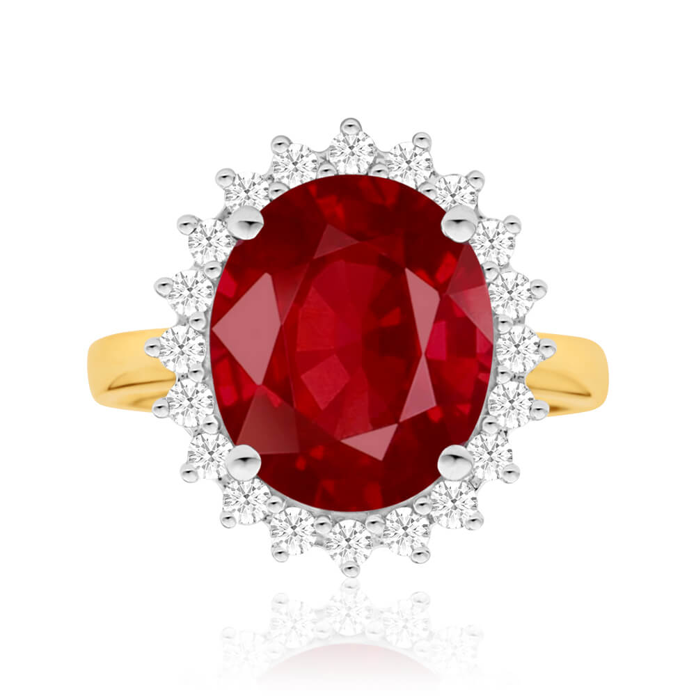 9ct Alluring Yellow Gold Diamond + Natural Enhanced/Heat Treated Ruby Ring