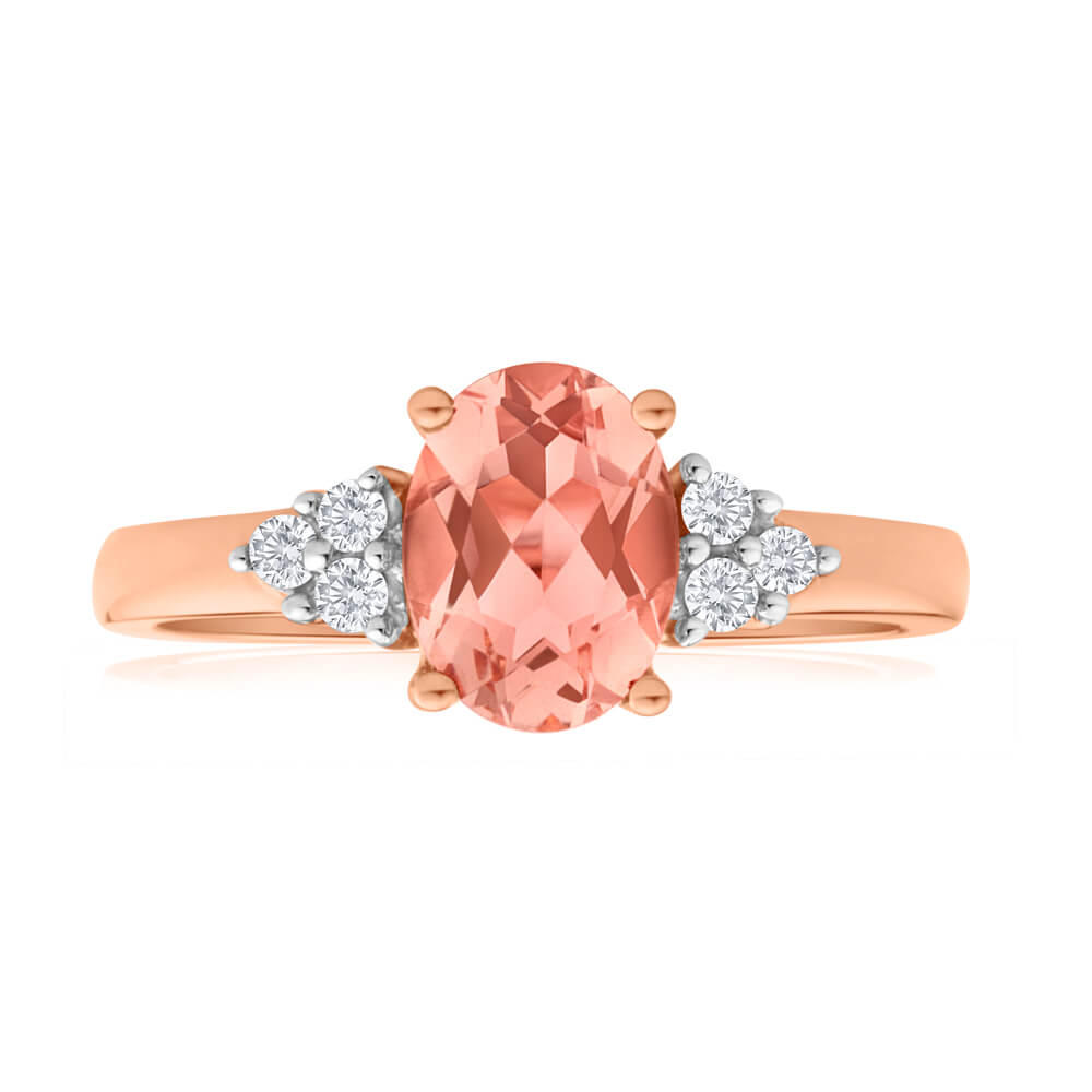 9ct Rose Gold Morganite 8x6mm and Diamond Ring