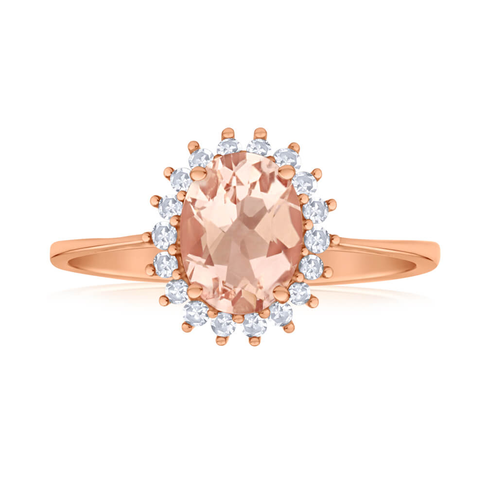 9ct Rose Gold Diamond + 8x6mm Morganite Cluster Ring