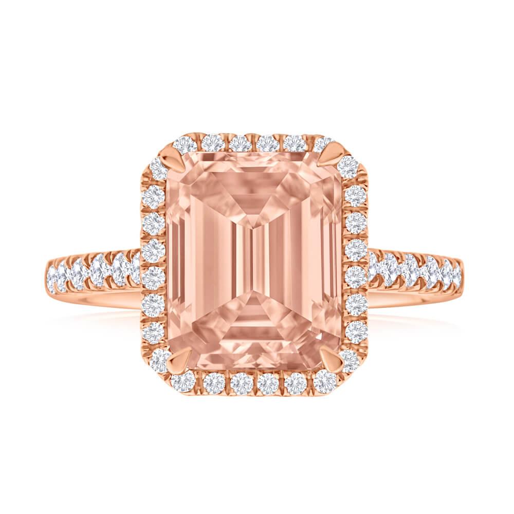 9ct Rose Gold Morganite and Diamond Ring