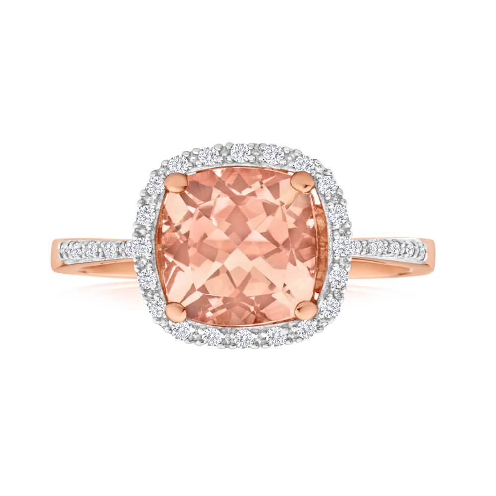 9ct Rose Gold Diamond + Morganite Ring