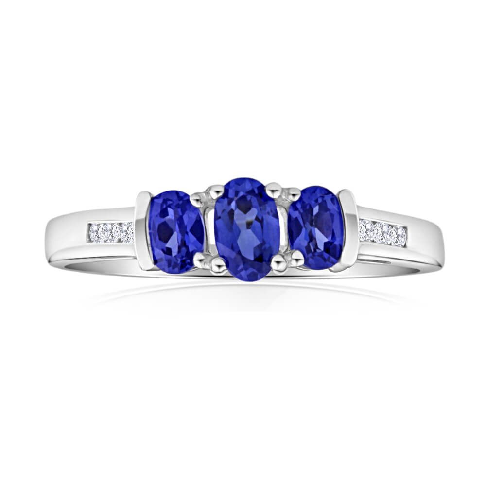 9ct White Gold Created Tanzanite Trio + Diamond Ring