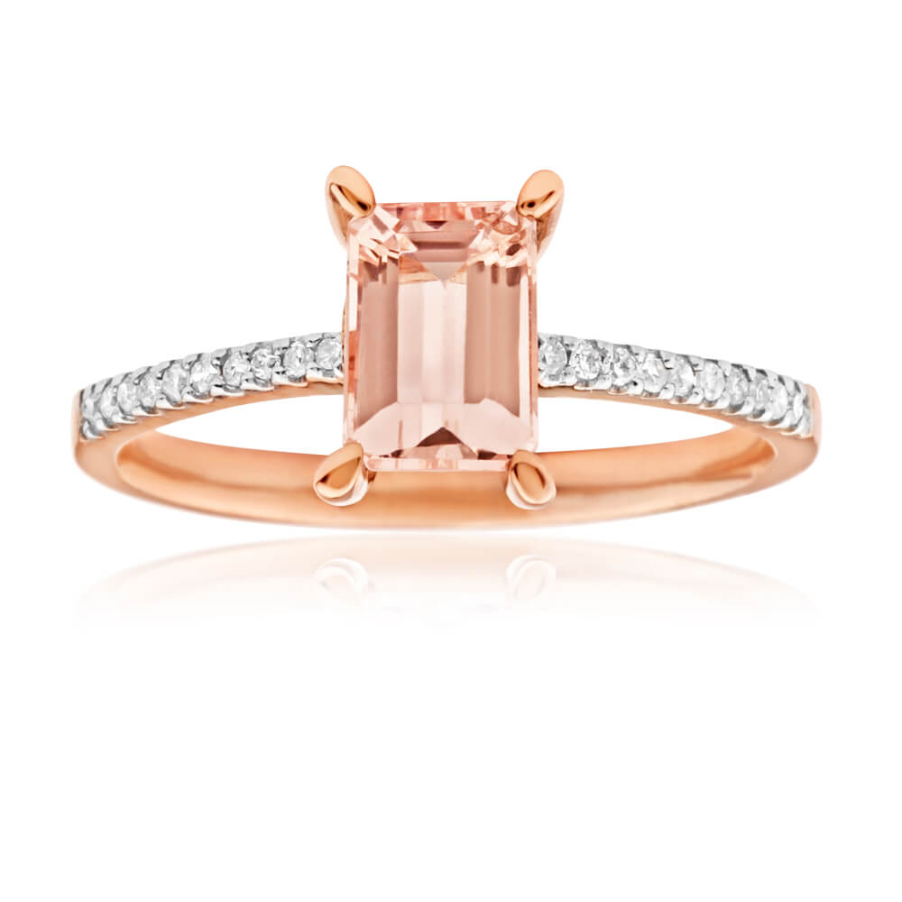 9ct Rose Gold 'Gigi' Diamond + Morganite Ring
