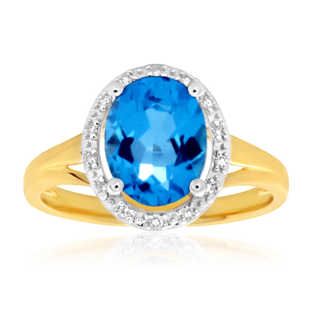 9ct Yellow Gold 'Jasmina' Oval Blue Topaz &  14 Diamond Ring