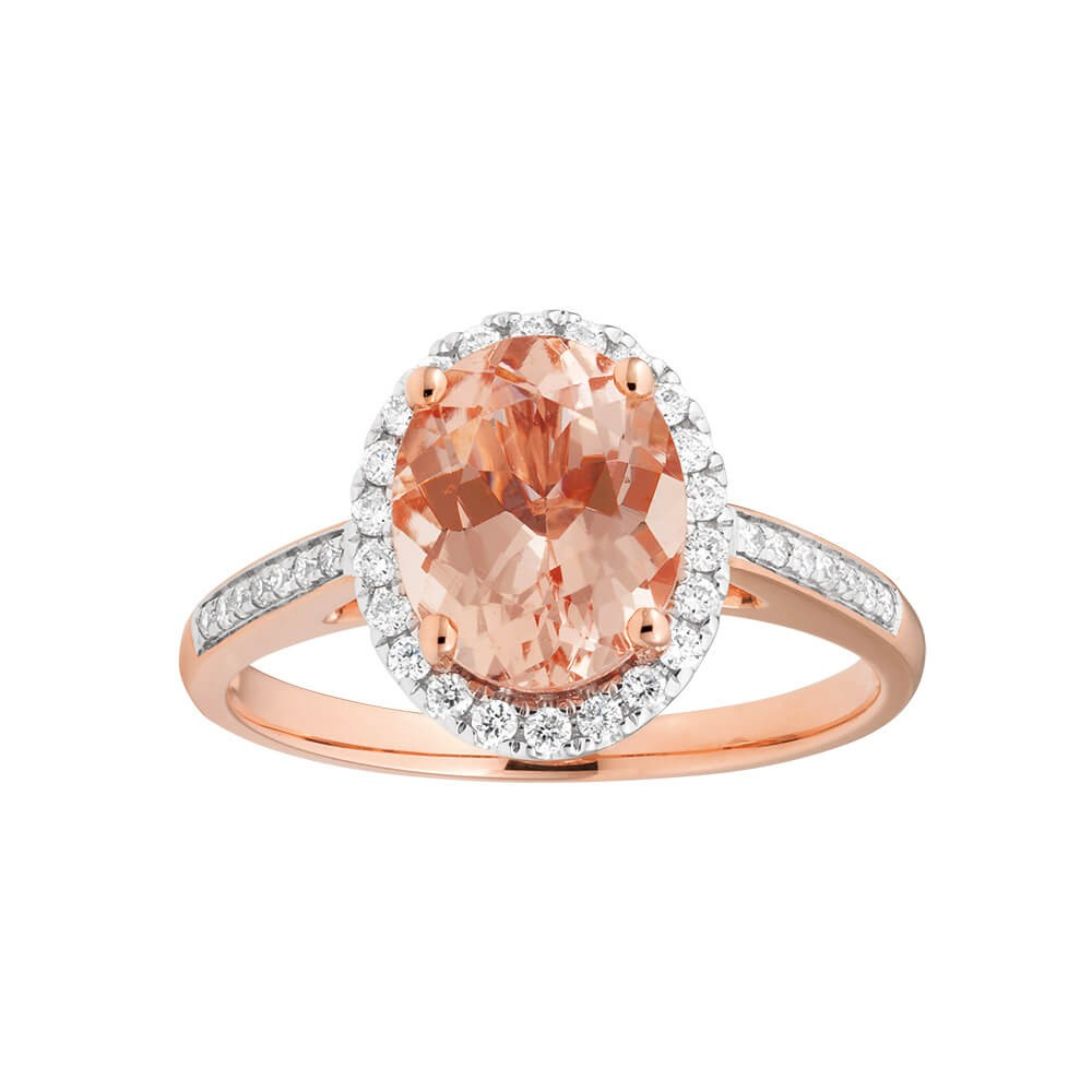 9ct Rose Gold Diamond + Morganite Ring