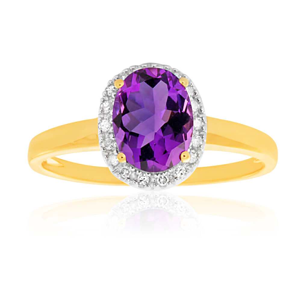 9ct Yellow Gold & White Gold Amethyst and Diamond Ring