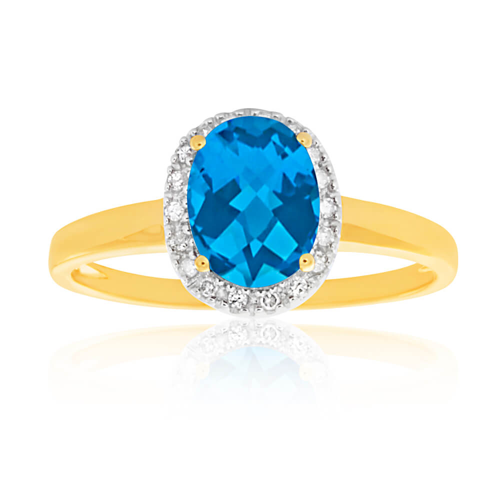 9ct Yellow Gold Blue Topaz 6x8mm and Diamond Halo Ring