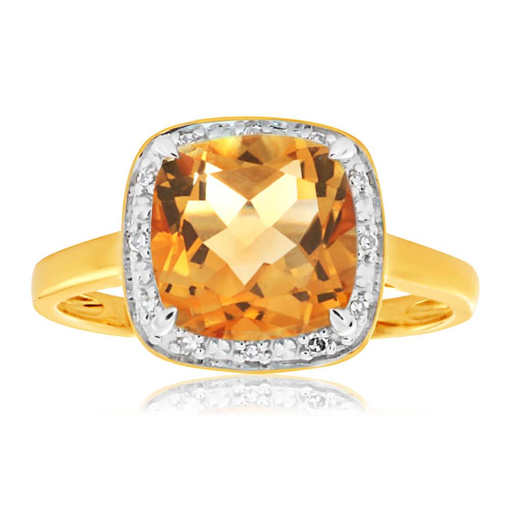 9ct Yellow Gold Citrine + 12 Diamond Ring