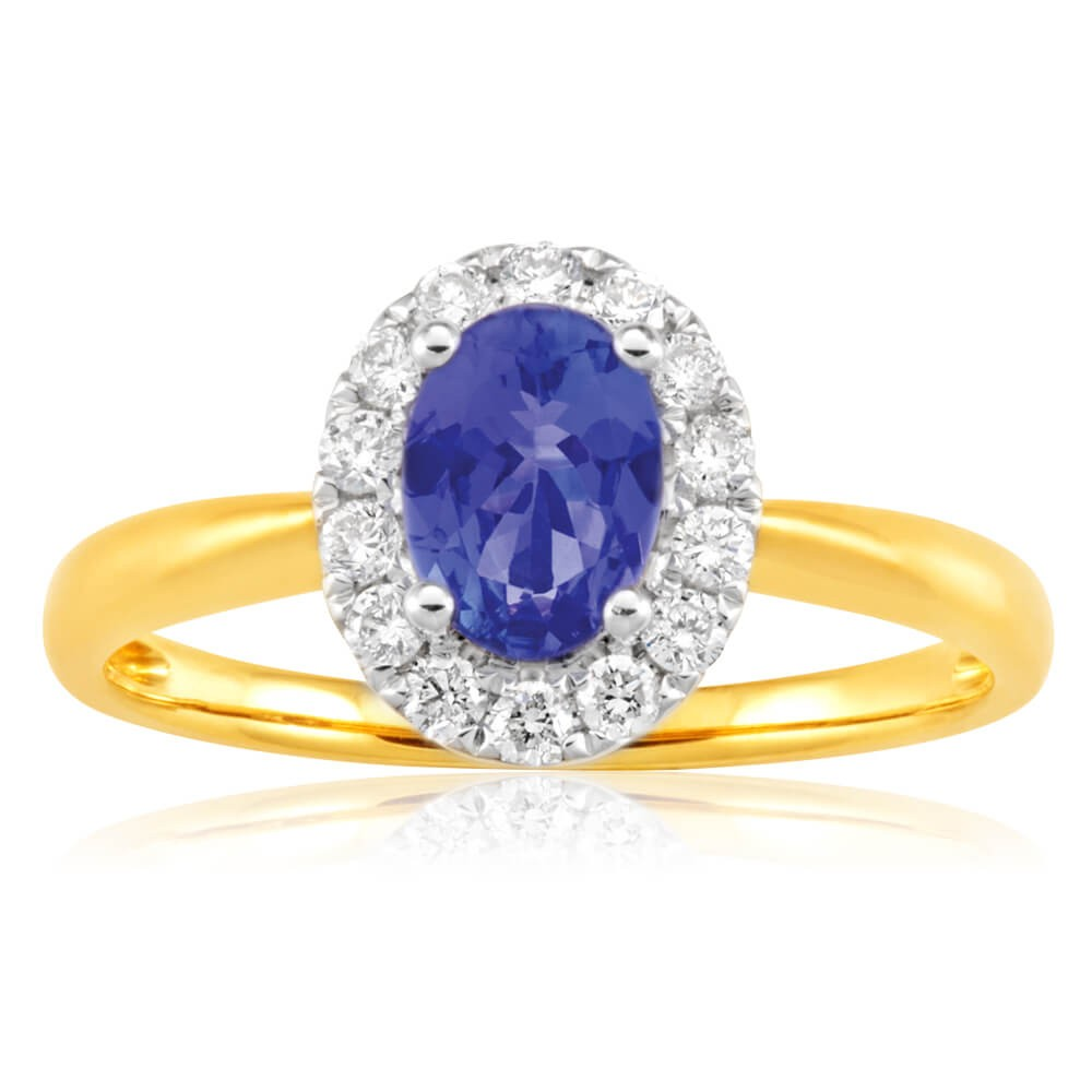 9ct Yellow Gold Diamond + Tanzanite Ring