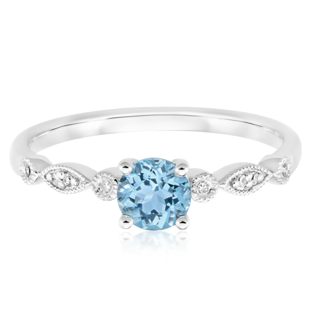 9ct White Gold Round Cut Aquamarine + Diamond Ring