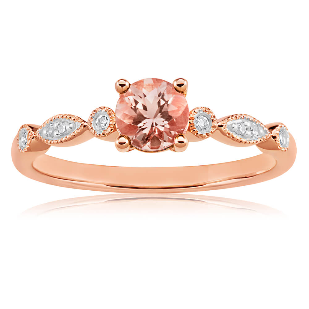 9ct Rose Gold Round Cut Morganite and Diamond Ring