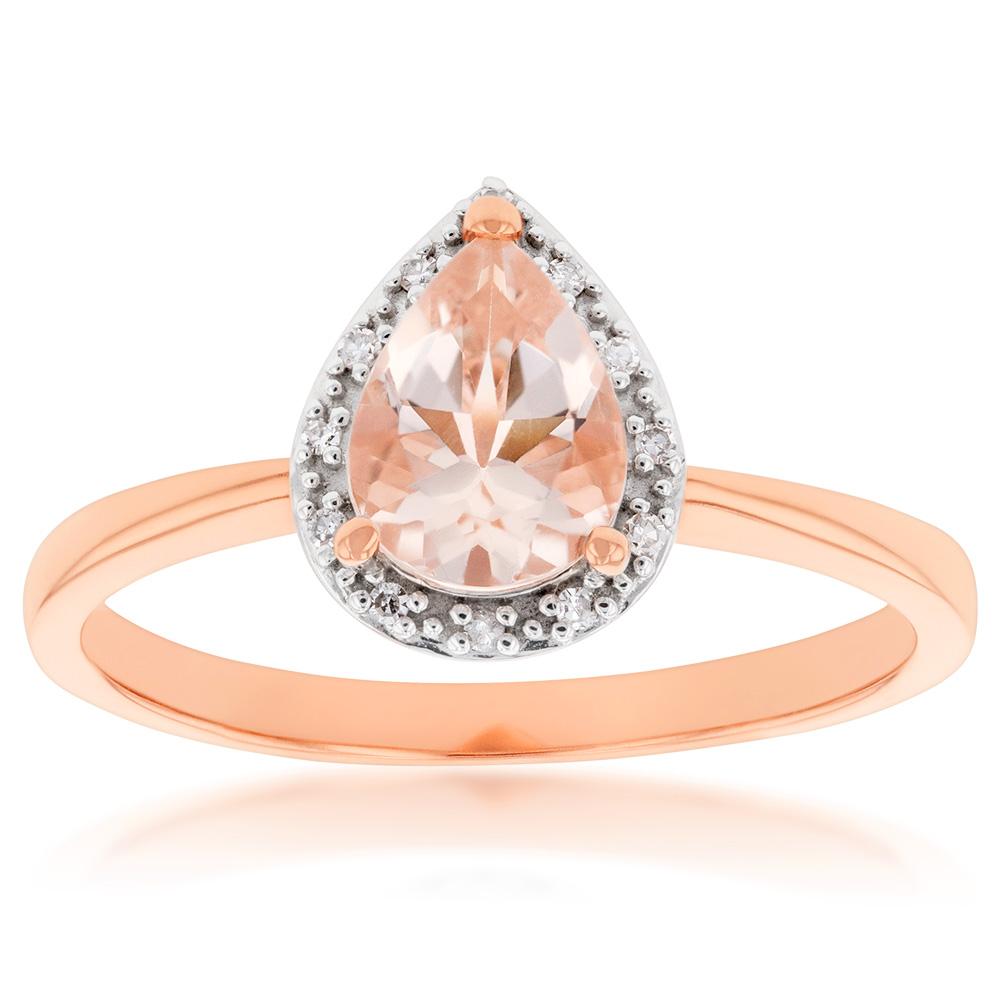 9ct Rose Gold Morganite 8x6mm Pear & Diamond Ring